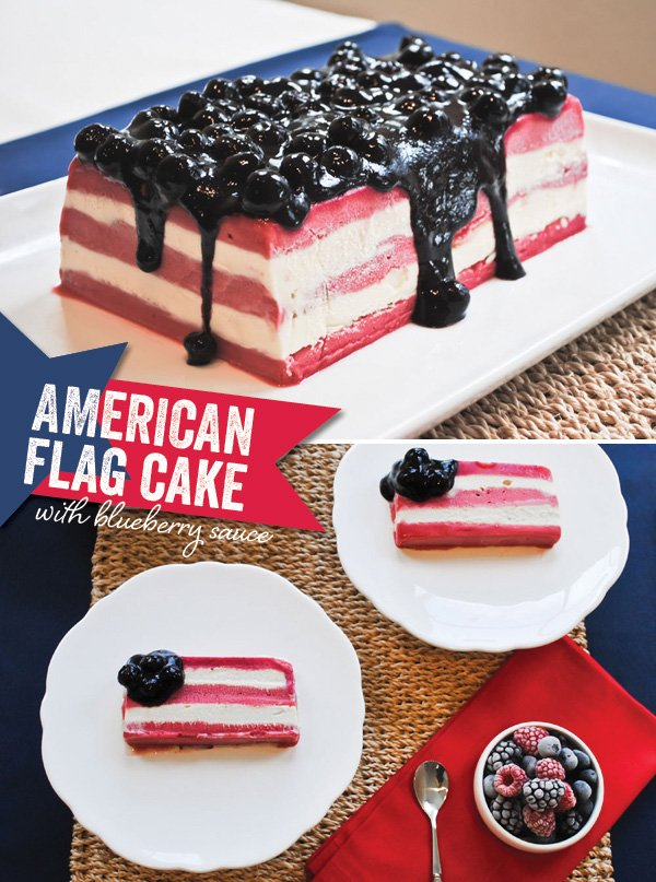 4th of July American flag ice cream cake with blueberry sauce