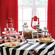 americana nautical low country boil crab party dessert table