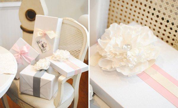 Paper flower garnish on presents