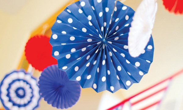 patriotic pinwheels party paper rosettes