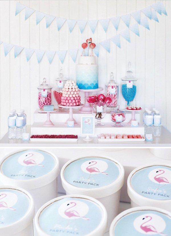 retro pink flamingo dessert table