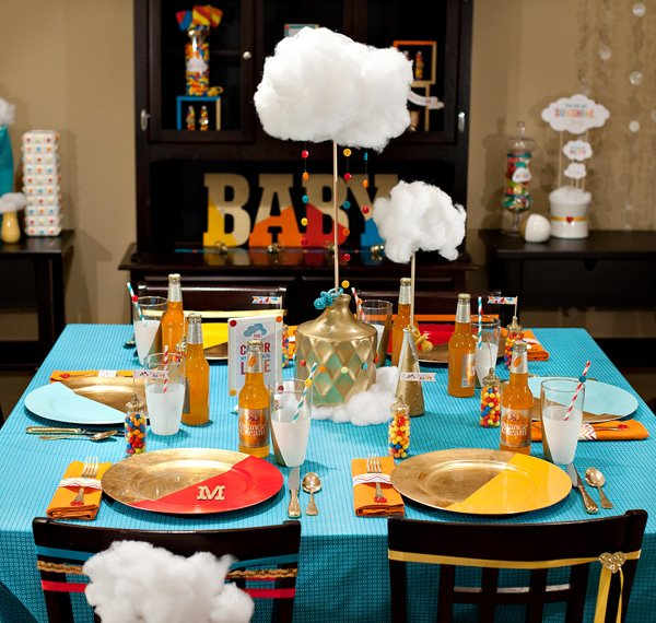 retro rainbow baby shower from hostess with the mostess