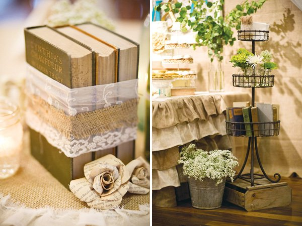 vintage book wedding decorations