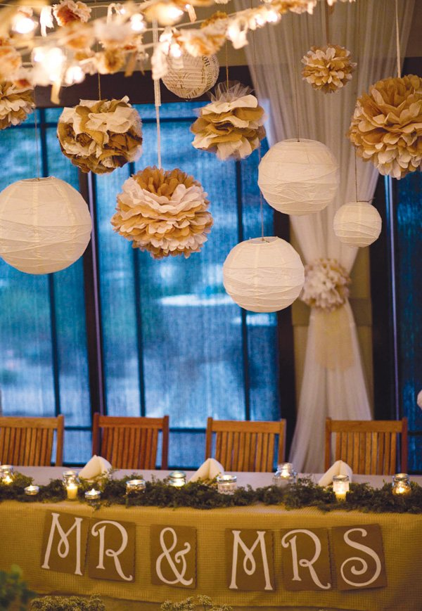 wedding paper lanterns and tissue poms