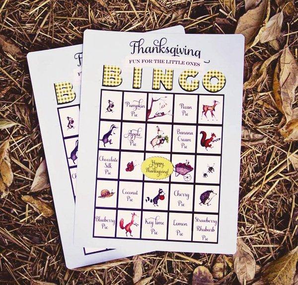 kids thanksgiving bingo