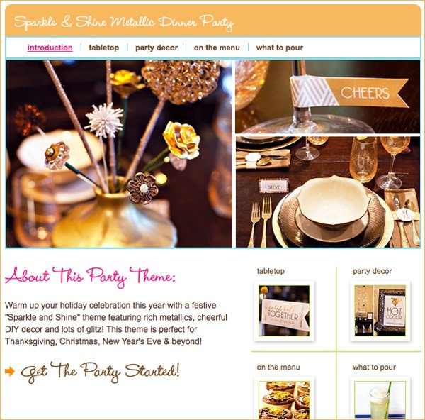 sparkly gold metallic dinner party