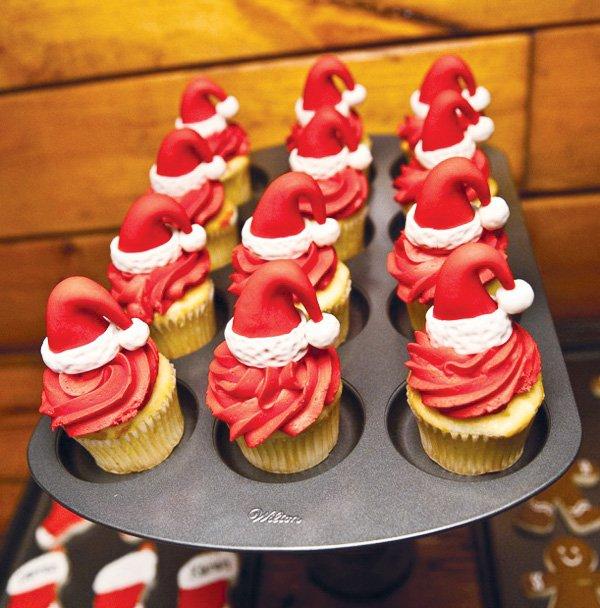 kitchen themed bridal shower table runners santa's workshop {kids christmas baking party} // hostess ...