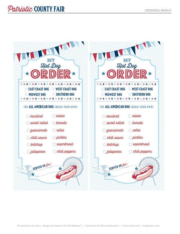 Hot Dog Order Checklist Free Printable