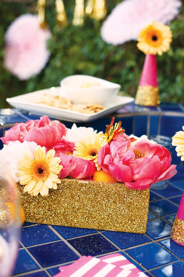 pink and gold glittered peony centerpiece