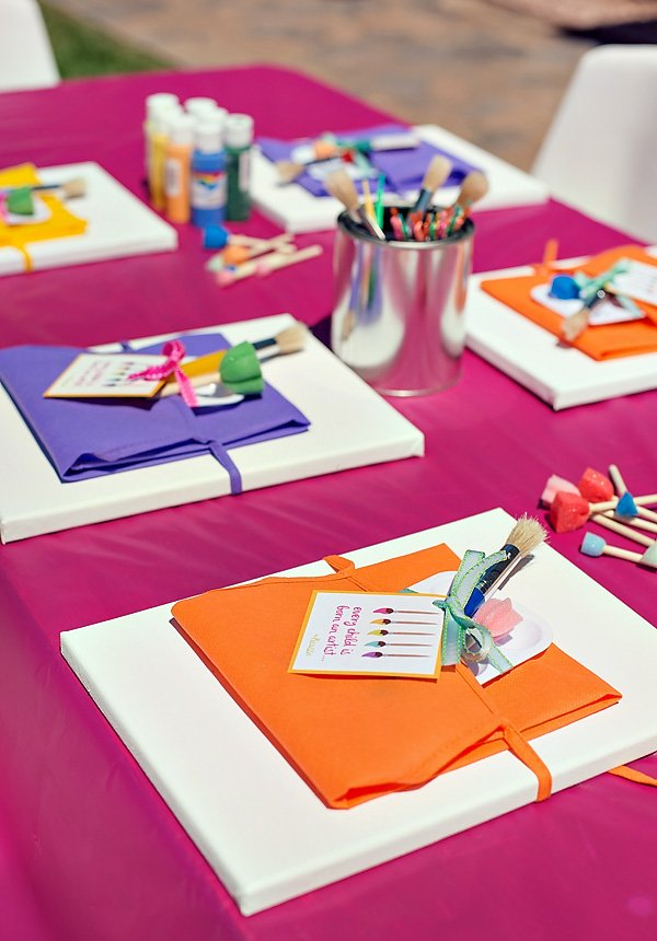 Painting party canvases and paint brushes