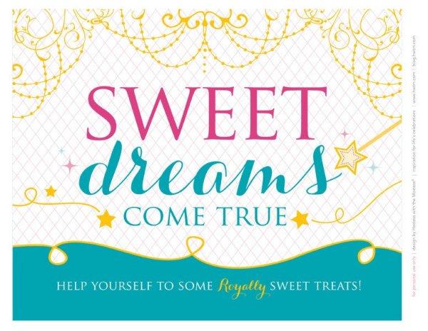 sweet dreams come true printable birthday sign