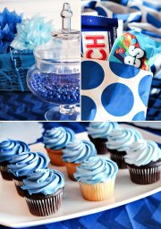 blue ombre dessert table boys