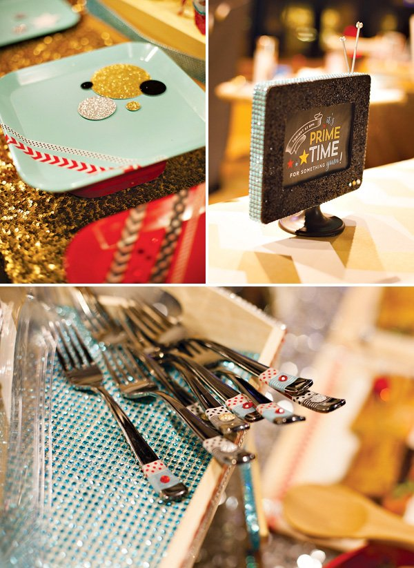 utensils with washi tape, DIY cake stand, and DIY TV Centerpiece