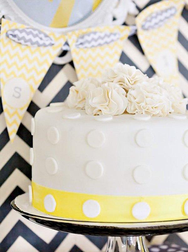 white polka dot cake for a gender neutral baby shower