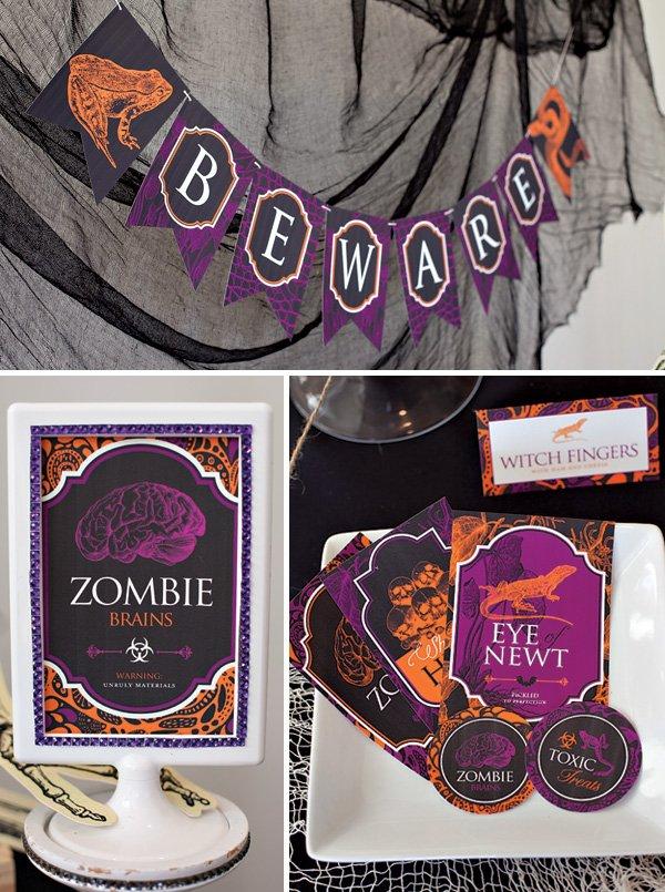 Halloween Printables - Banner Signs Labels