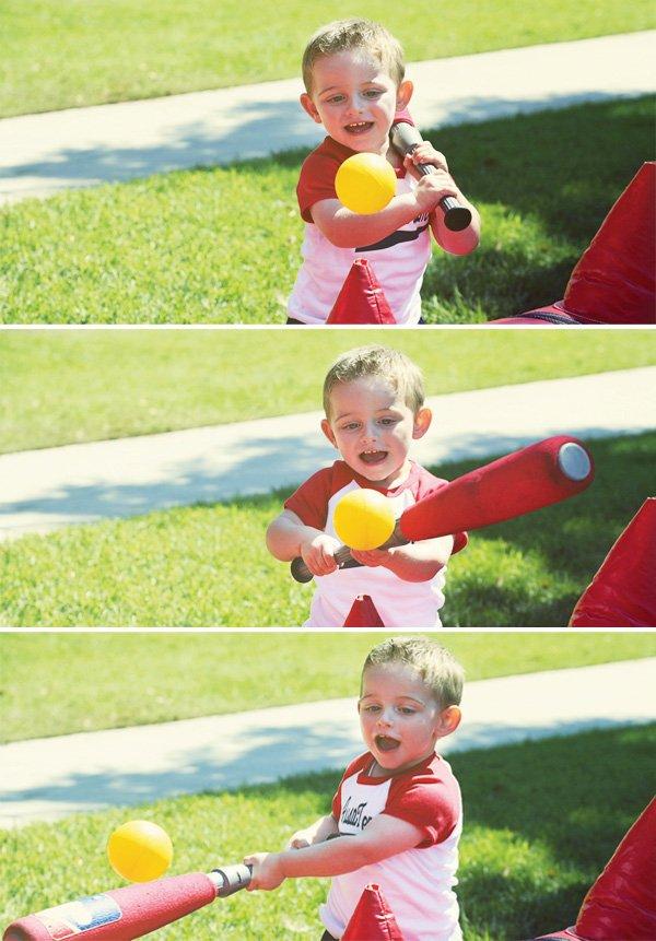 air pressured tee ball baseball party game