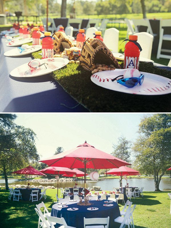 baseball party grass lined kids table