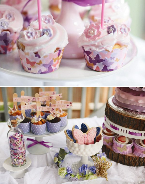 magical butterfly cupcake wrappers and desserts