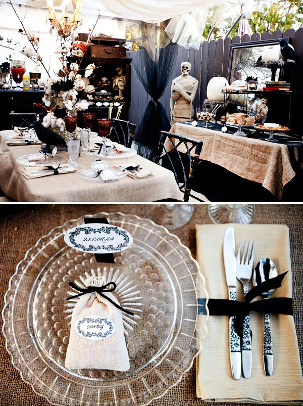 halloween dinner party with burlap candy bags