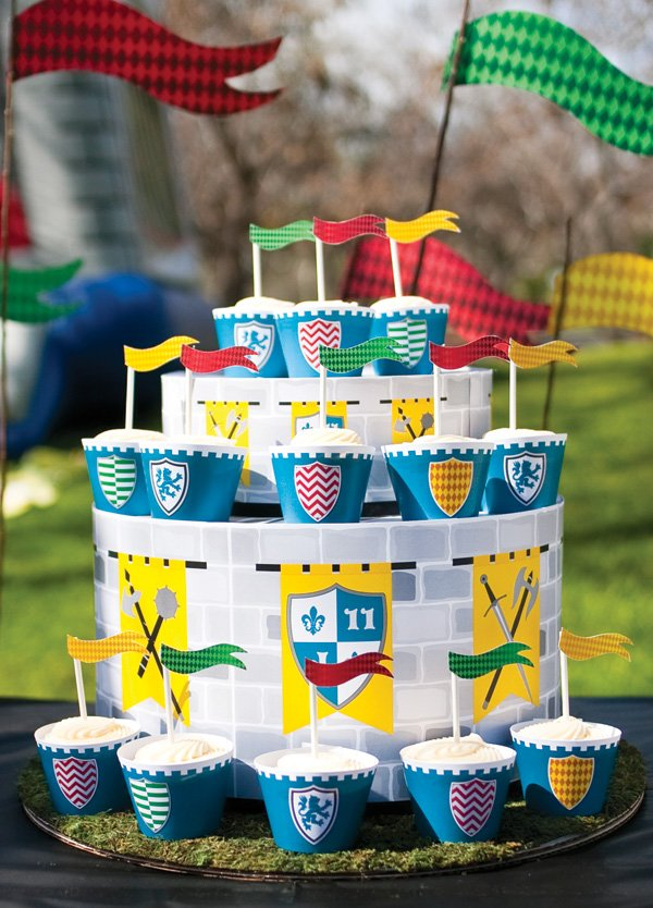 DIY cupcake cake stand wrapped with medieval castle paper