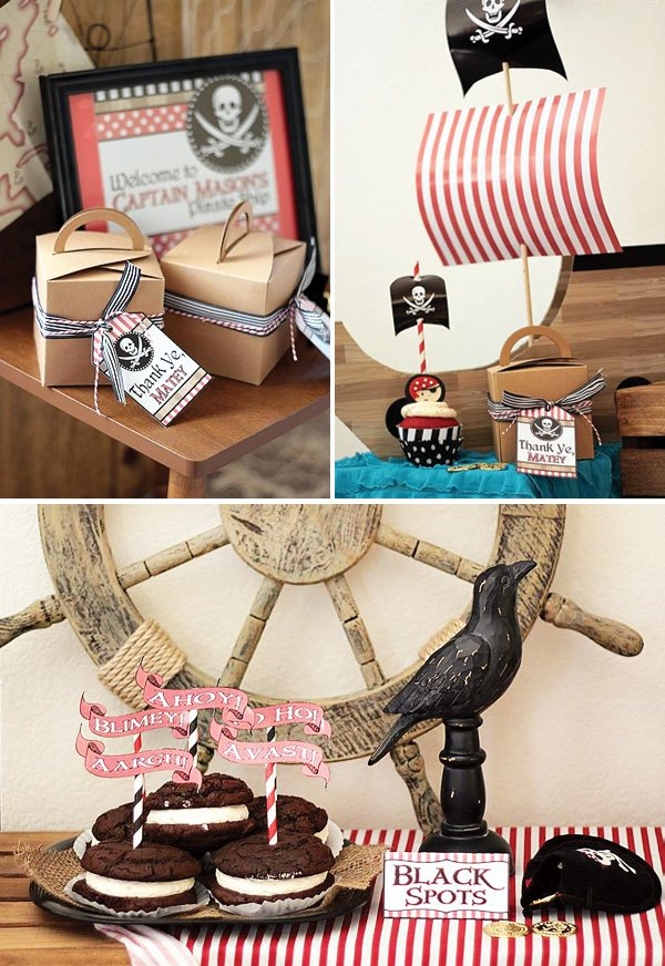 pirate party favors and black spot whoopie pies