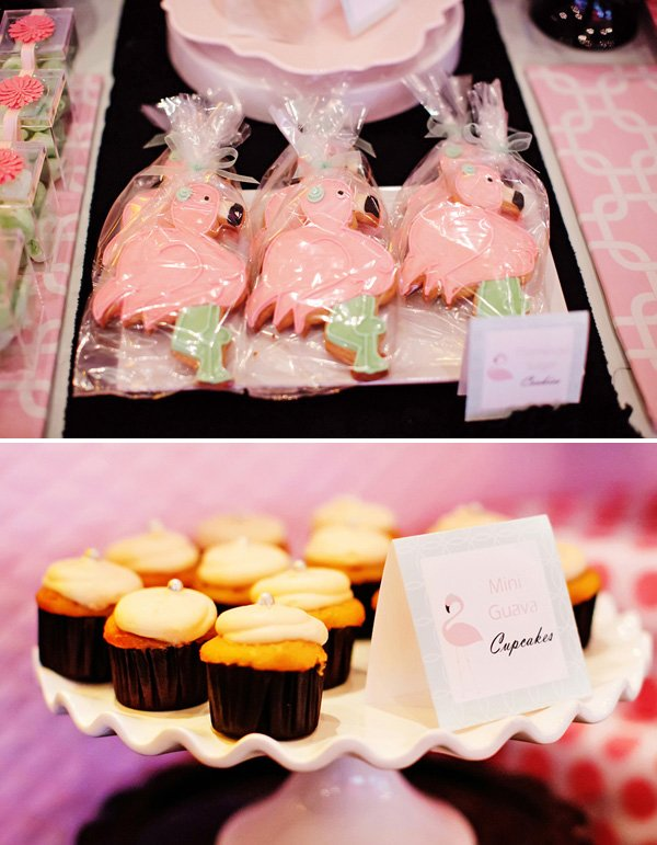 baby shower desserts like pink flamingo sugar cookies and mini guava cupcakes