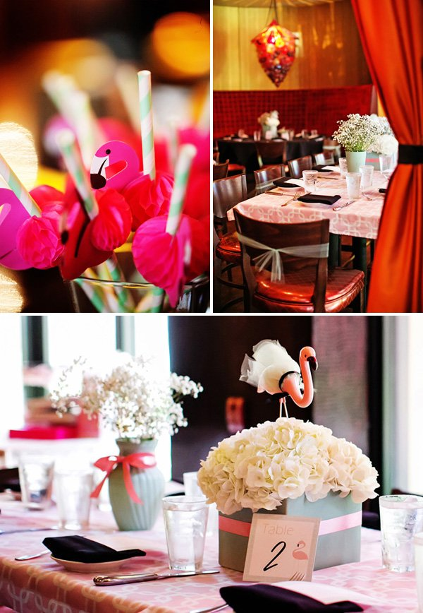 pink flamingo table centerpieces and straw accents (party flags)