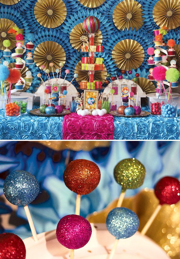 brightly colored and glittered christmas cake pops