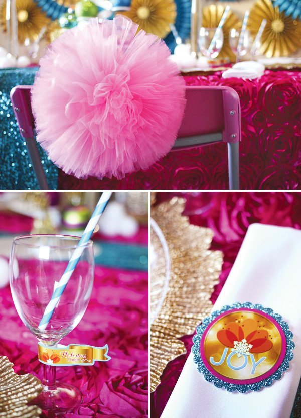 pink and blue non-traditional christmas colors on a colorful tablescape