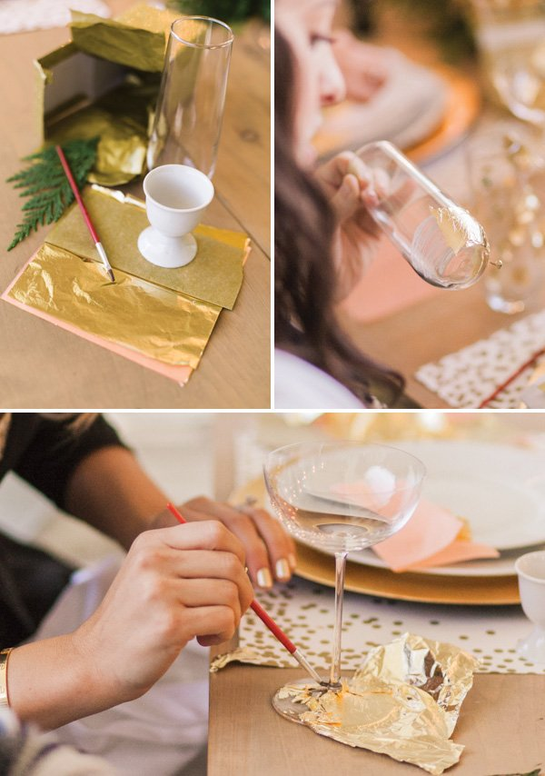 DIY how to steps for making your own gold leaf glasses - adding gold leaf to the foot