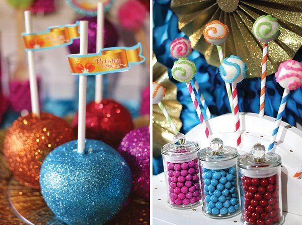 glittered, colorful candy apples and sparkly cake pops