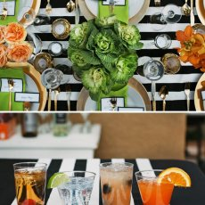 black white gold and green party table with bold stripes