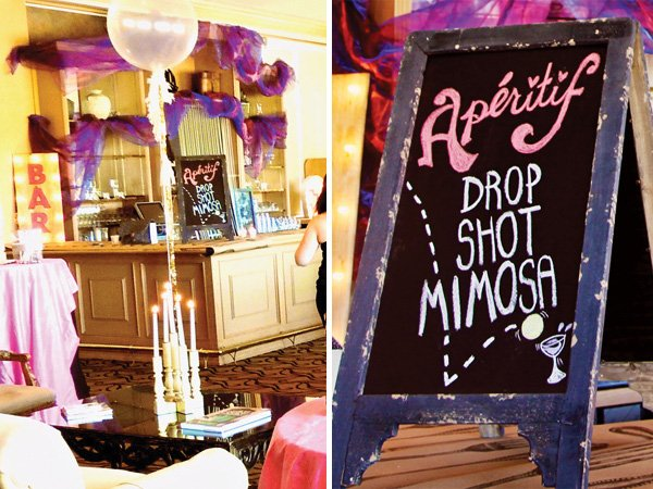 paris themed bar decorations with mimosas, balloons and candles