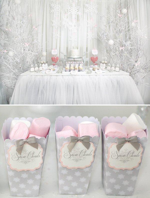 pink white snowflake princess party