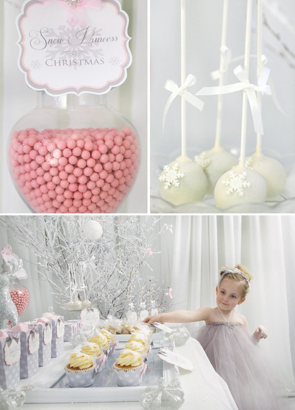 pink and white snow dessert table and cake pops