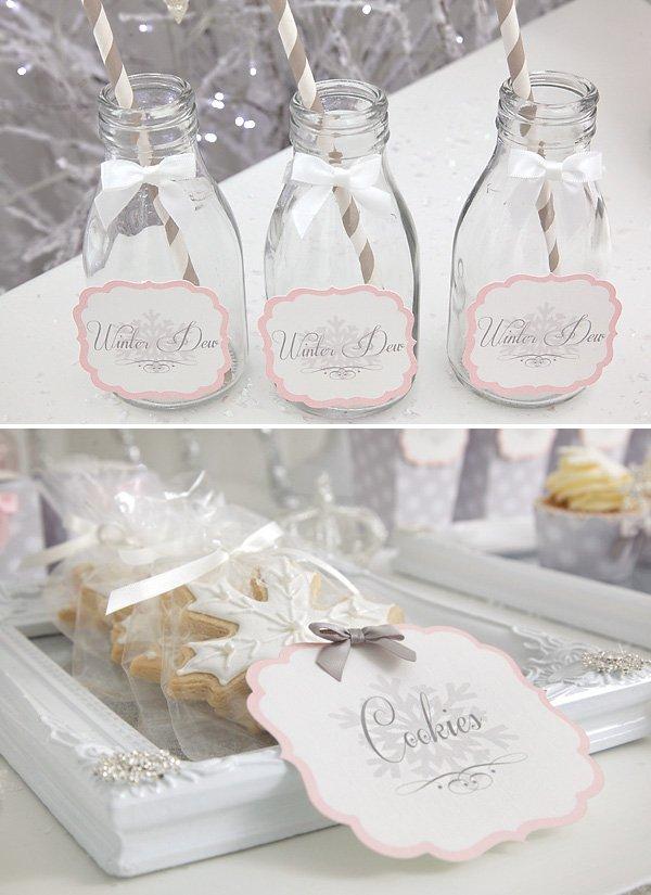 snow princess drinks and cookies
