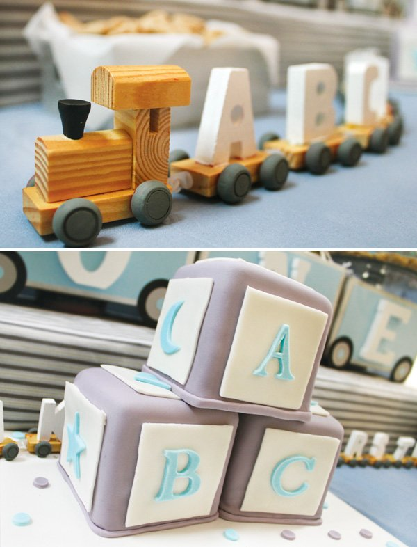 wooden alphabet train centerpiece and alphabet block cakes
