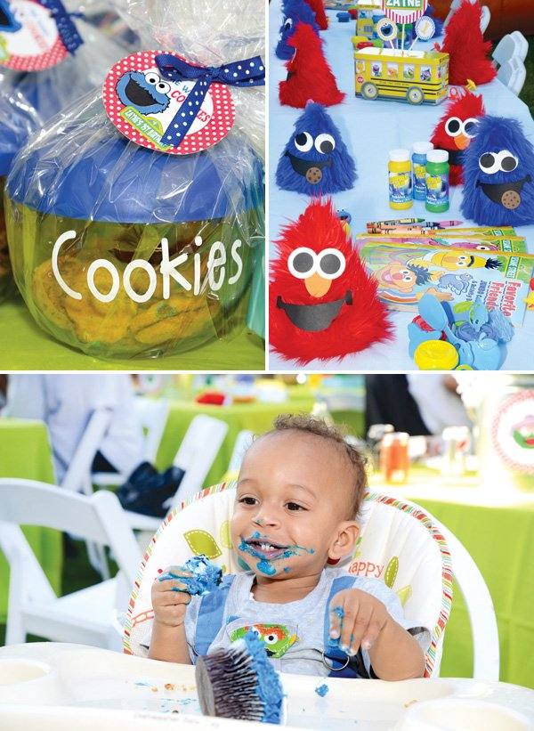 cookie monster party favors and cupcakes
