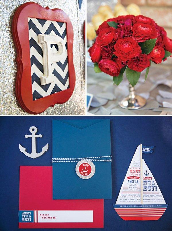 nautical boy's baby shower invitation and decor