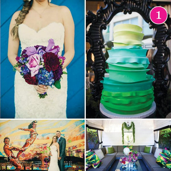 radiant orchid purple and green wedding