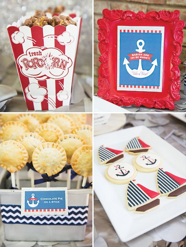 sailboat and anchor cookies and mini pies