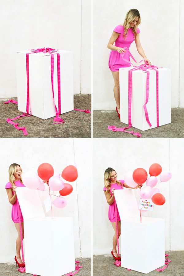 balloons in a big present box makes for a super fun surprise!
