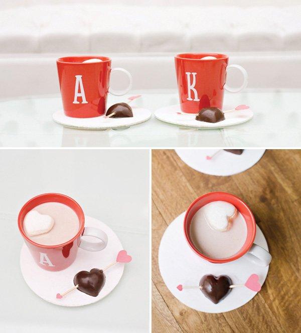 dark chocolate hot cocoa stirrers and homemade heart shaped marshmallows