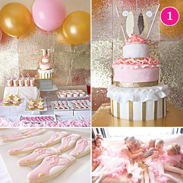modern gold feather and pink ballet birthday party