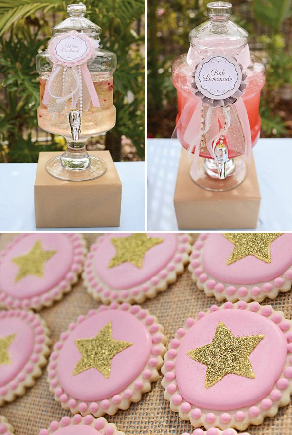 party drinks dispensers and golden star cookies
