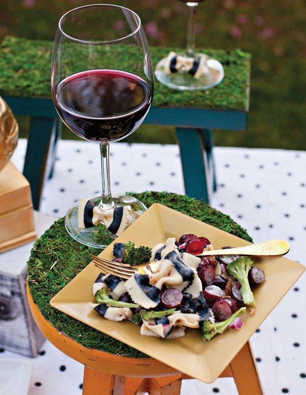 black white striped bow tie pasta salad