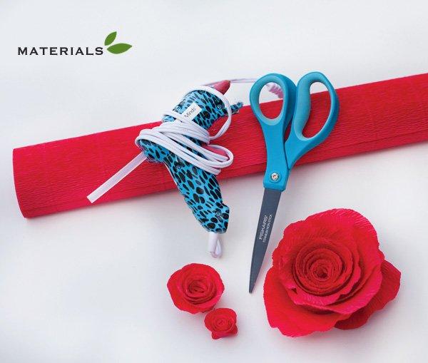 crepe paper roses craft materials