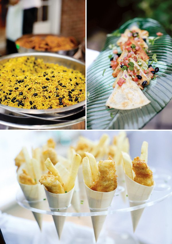 individual fish and chips and Mexican food for a party