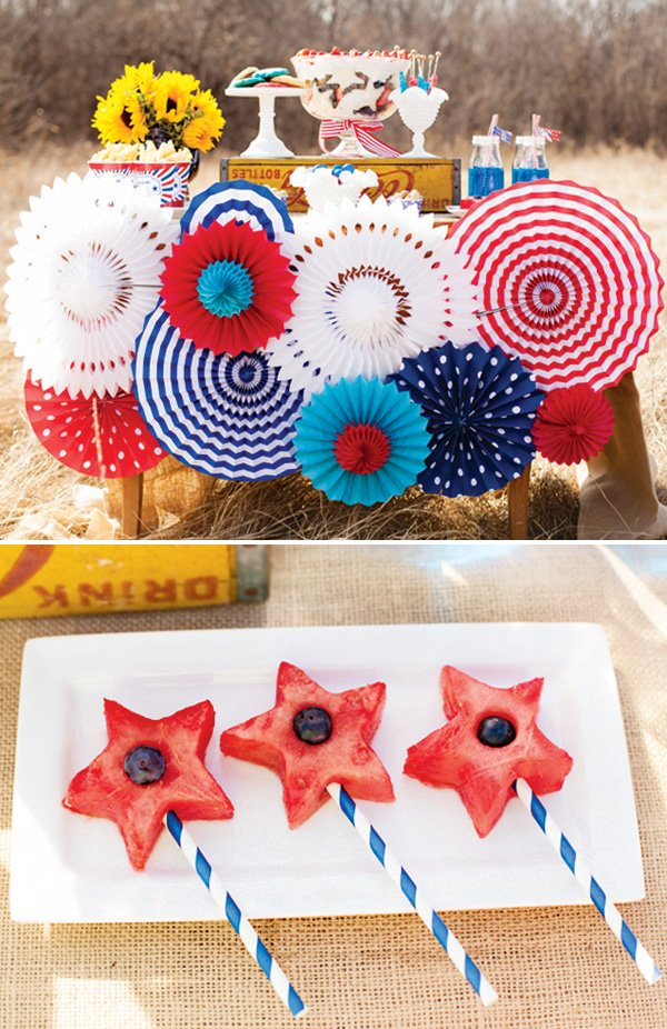 4th of july party dessert table and watermelon star skewers