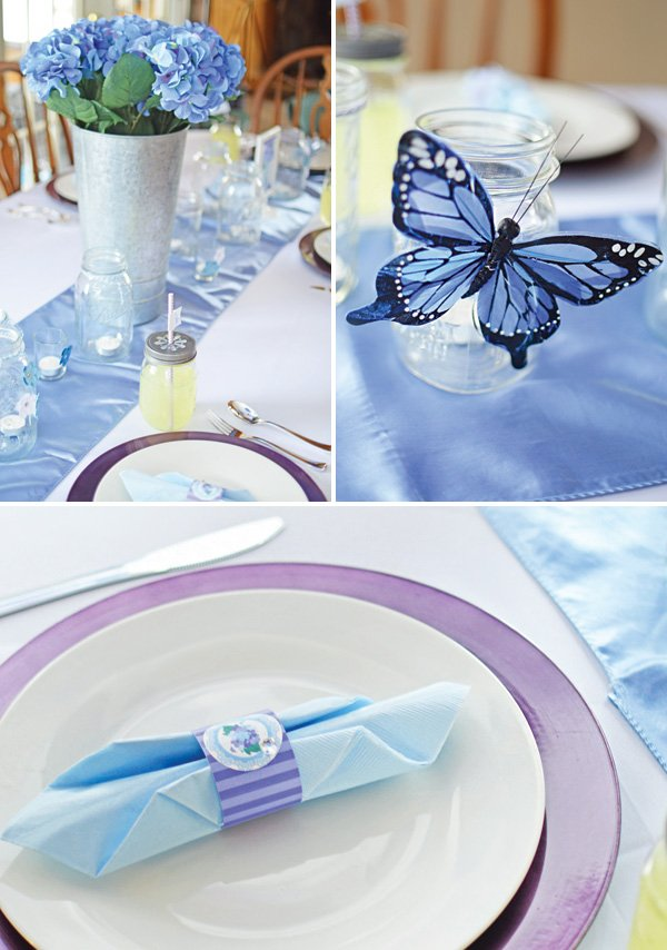 butterfly 70th birthday party tablescape